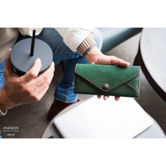 Ví Dài Nam Da Dê Dark Green Long Wallet MTO AR