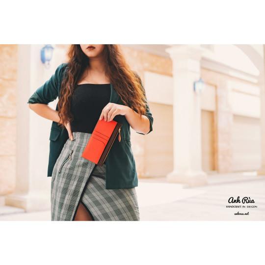 Ví Dài Nữ Long Wallet Da Bê MTO AR