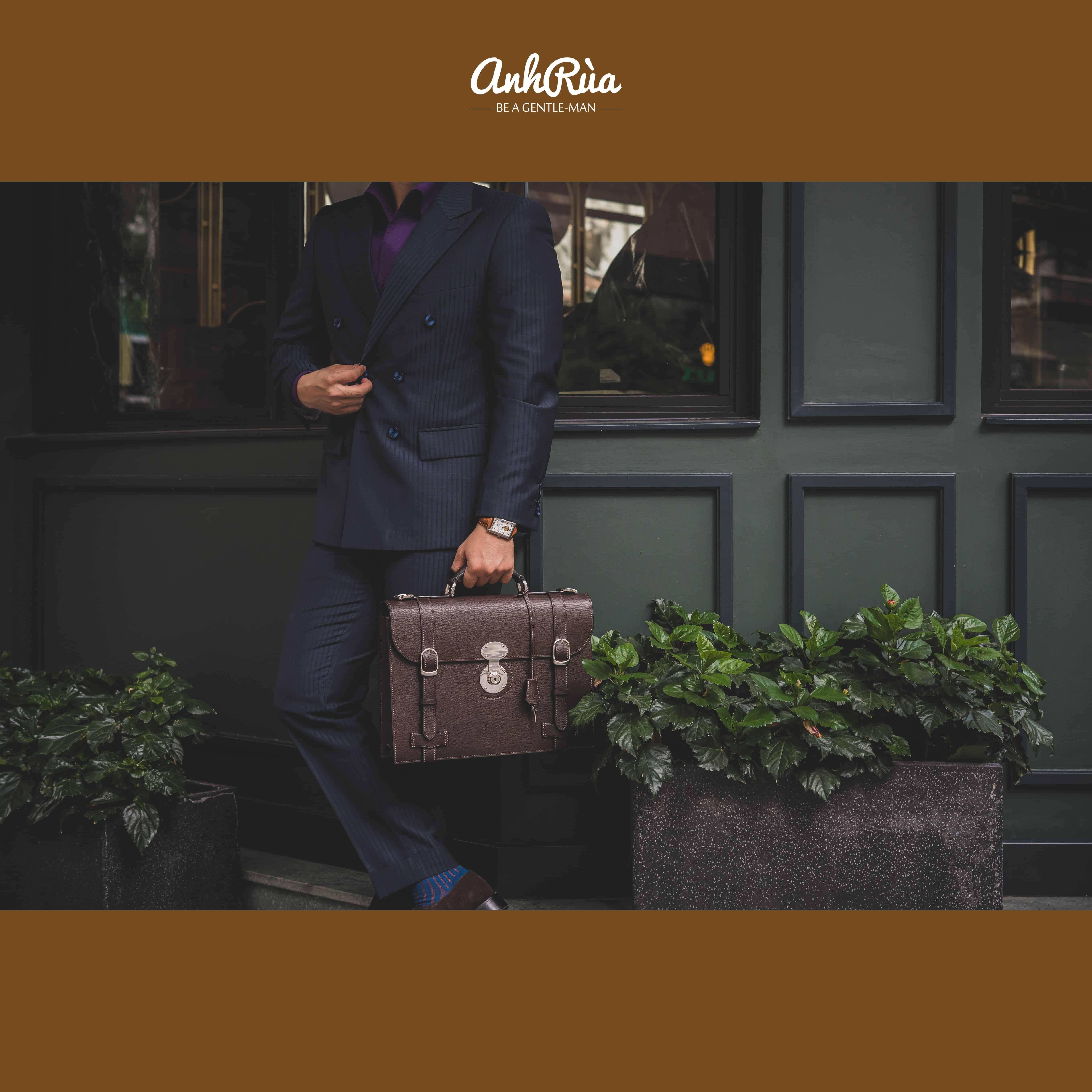 Túi Xách Công Sở Da Bê Parisian Brown Waprolux English Briefcase MTO AR
