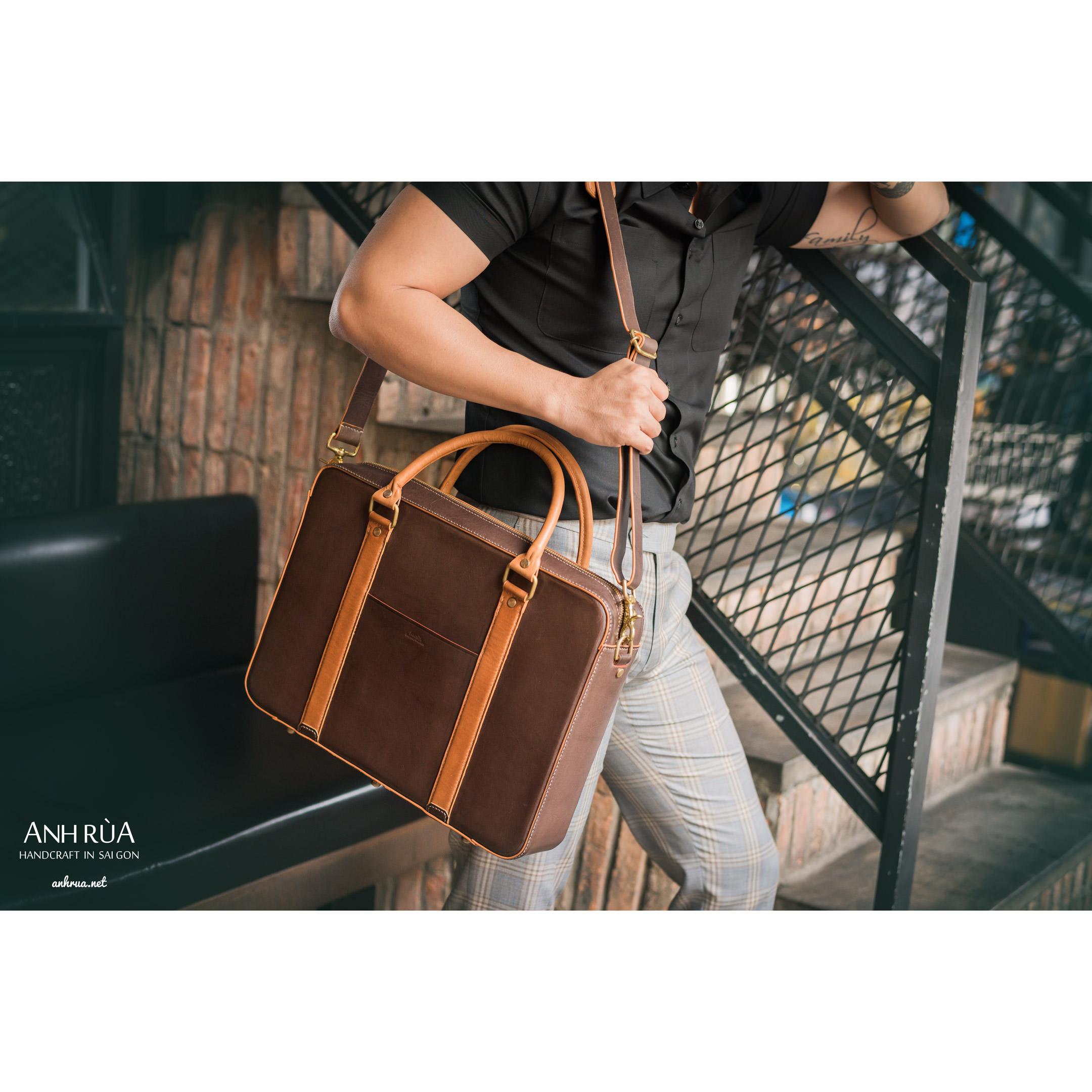 Túi Xách Công Sở Da Bò Parisan Brown Briefcase MTO AR